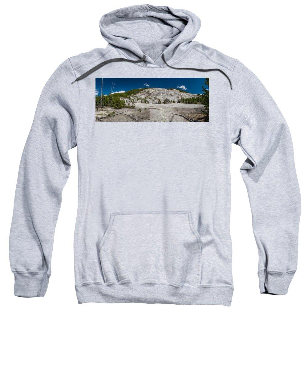 Yellowstone Sweatshirt featuring the photograph Roaring Mountain Panorama by Greg Nyquist