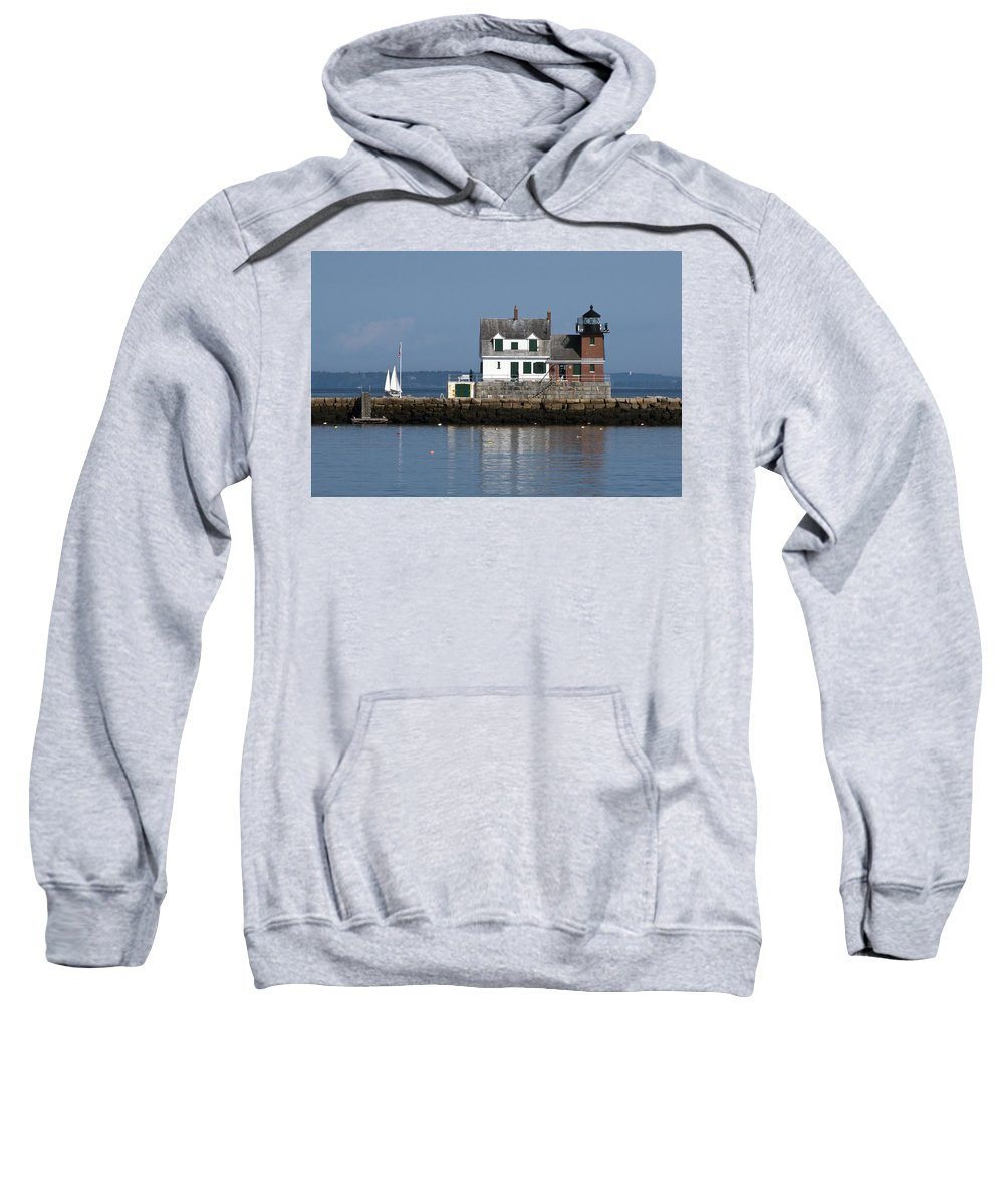 Rockland Sweatshirt featuring the photograph Rockland Breakwater Lighthouse by Glenn Gordon