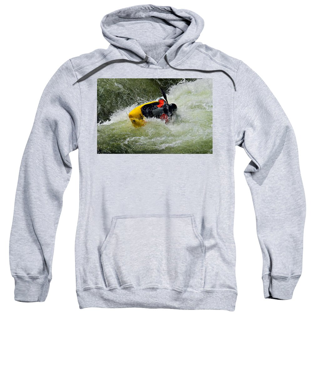 Active; Adventure; Boat; Class; Compete; Competitor; Courage; Danger; Dangerous; Elements; Endurance; Extreme; Force; Gear; Kayak; Kayaker Sweatshirt featuring the photograph Rolling Down The River by Susan Leggett
