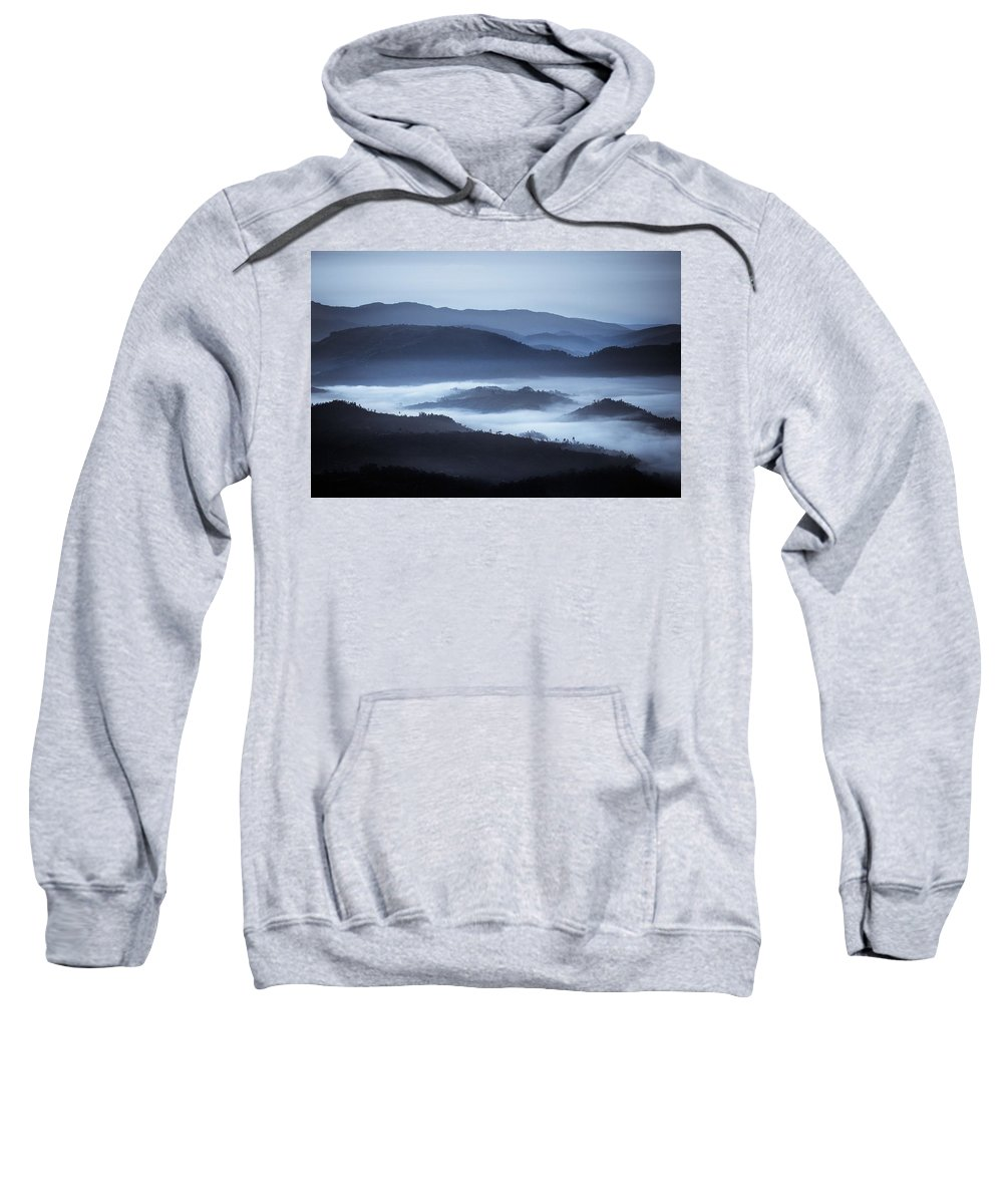 African Sweatshirt featuring the photograph Rolling Hills In The Fog, Rwanda, Africa by David DuChemin