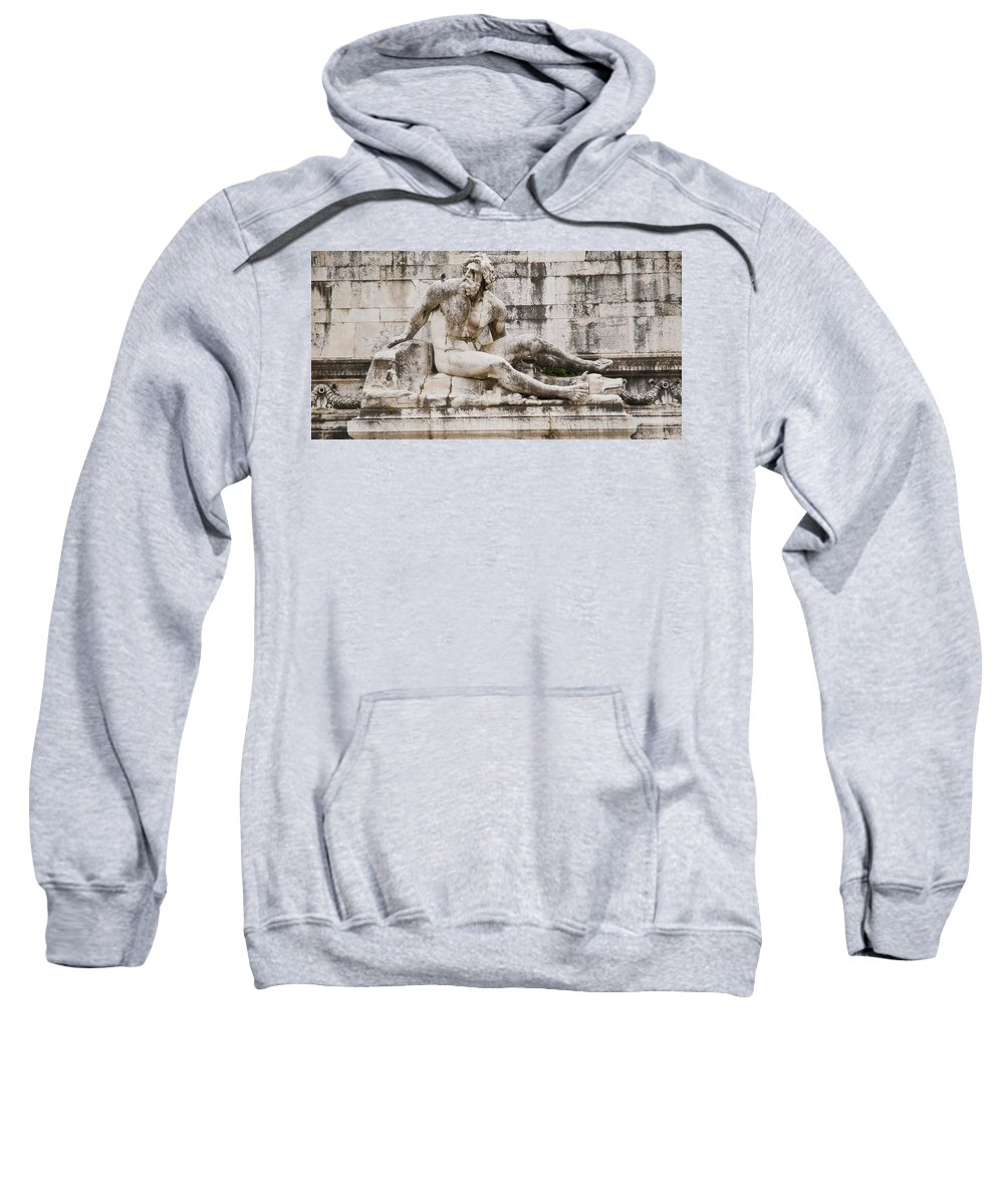 Rome Sweatshirt featuring the photograph Roman Statue With Pigeon And Wildflowers by Beth Riser