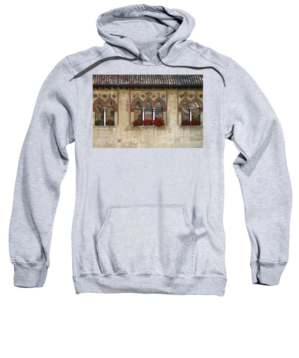 Windows Sweatshirt featuring the photograph Row Of Windows In Treviso Italy by Greg Matchick