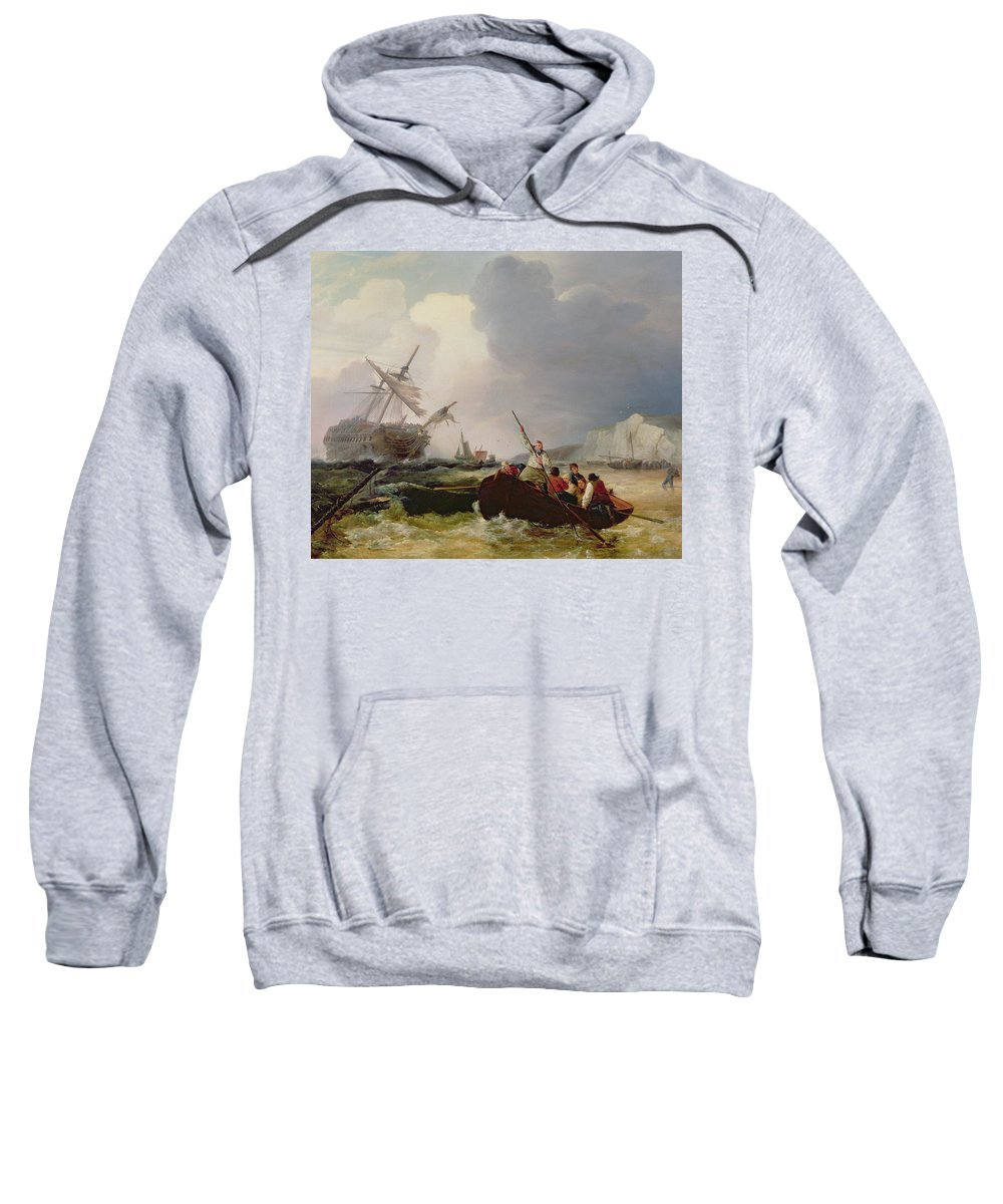 Boat Sweatshirt featuring the painting Rowing Boat Going To The Aid Of A Man-o'-war In A Storm by George Chambers