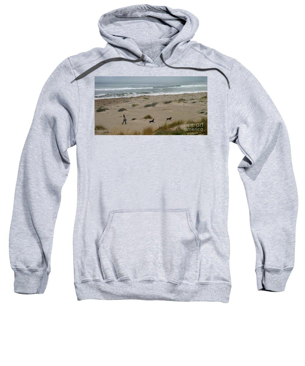 Sand Sweatshirt featuring the photograph Run My Dogs by Henrik Lehnerer