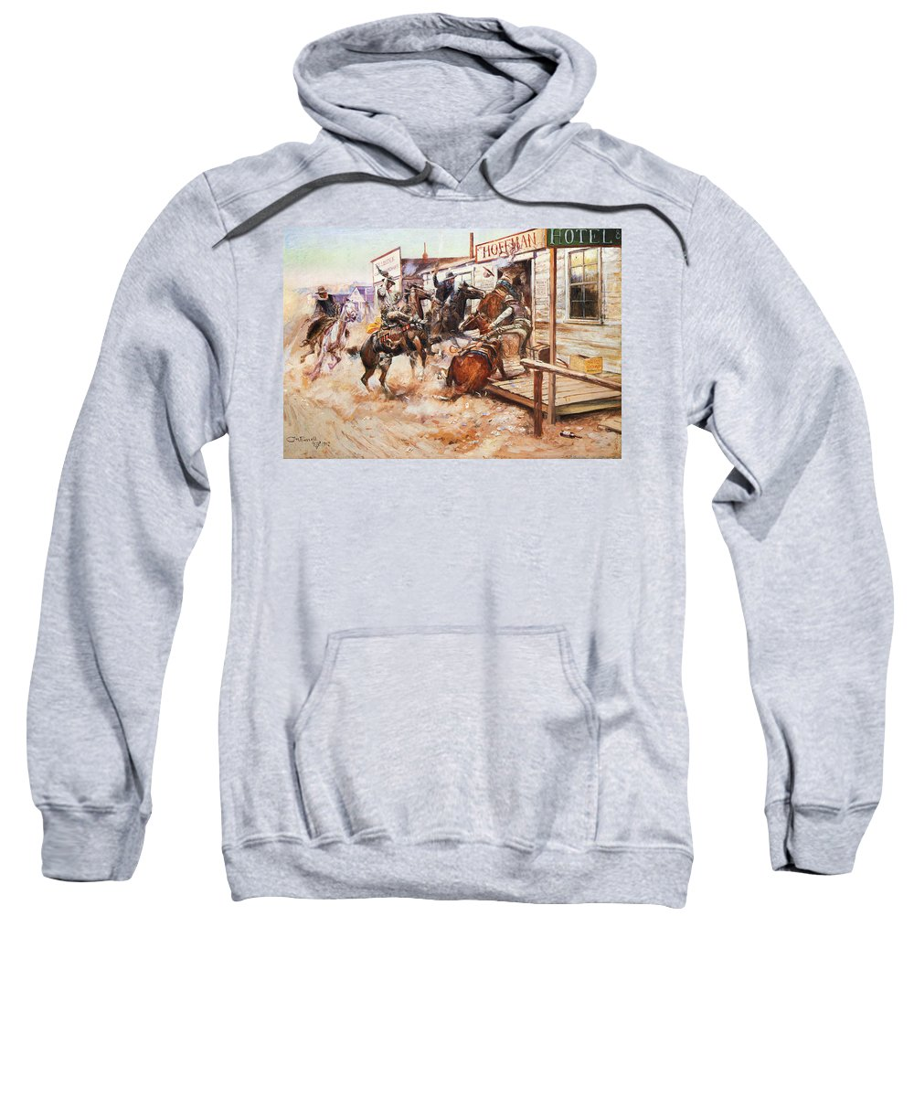 1909 Sweatshirt featuring the photograph Russell Cowboy Art, 1909 by Granger