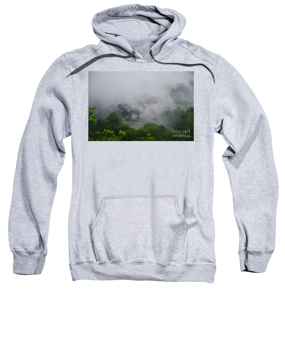 Village Sweatshirt featuring the photograph Rustic Village In The Fog by Mats Silvan