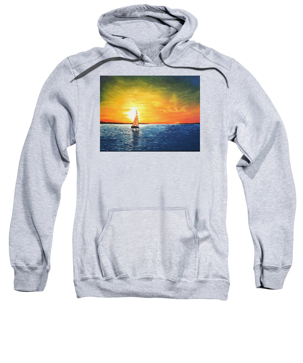 Seascape Sweatshirt featuring the painting Safe Harbor by Candy Prather