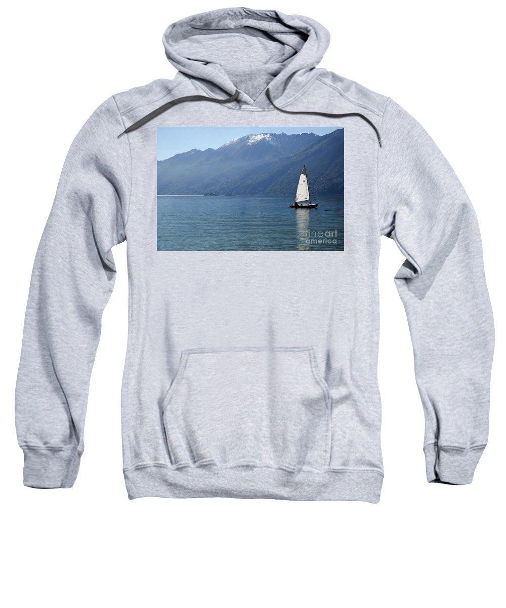 Sailing Boat Sweatshirt featuring the photograph Sailing Boat And Mountain by Mats Silvan