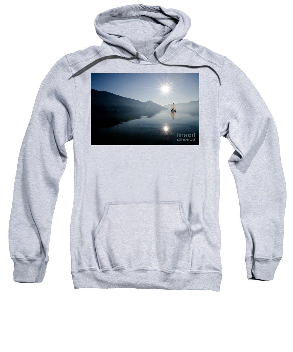 Sailing Boat Sweatshirt featuring the photograph Sailing Boat On The Lake by Mats Silvan