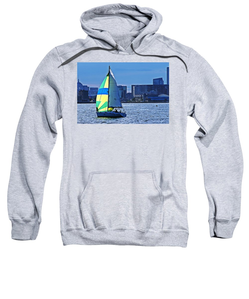 Sailing Sweatshirt featuring the photograph Sailing On Boston Harbor by Joe Faherty