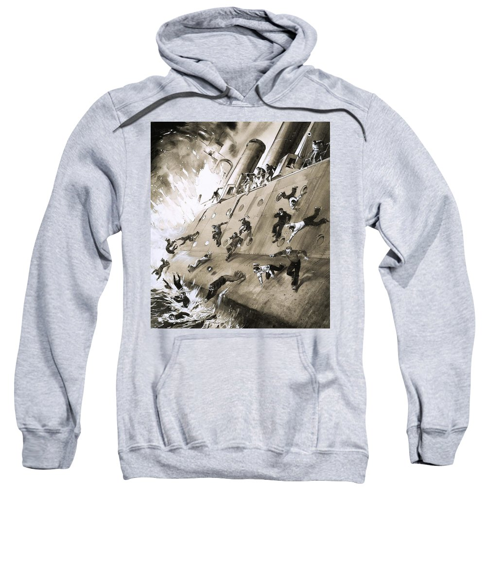 Hms Natal; Fire; Disaster; Accident; Cromerty Firth; Sailors; Escape; Panic; Ocean; Sea; Boat; Ship Sweatshirt featuring the painting Sailors Escaping Hms Natal Which Caught Fire In Cromerty Firth In 1915 by English School