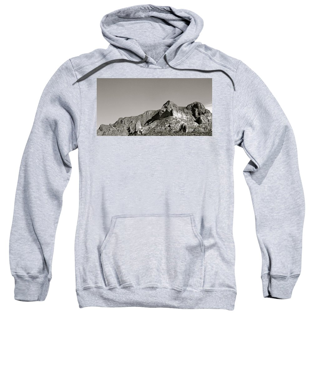 Salt River Canyon Sweatshirt featuring the photograph Salt River Black And White by Pamela Walrath