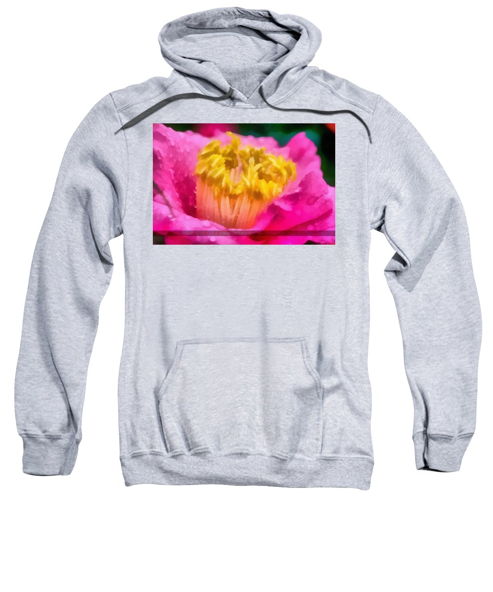 This Was Put Through Auto-painter Sweatshirt featuring the photograph Sample-camellia by Rich Franco