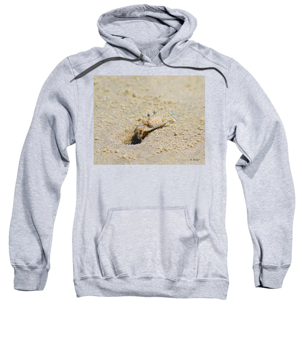 Roena King Sweatshirt featuring the photograph Sand Crab Digging His Hole by Roena King