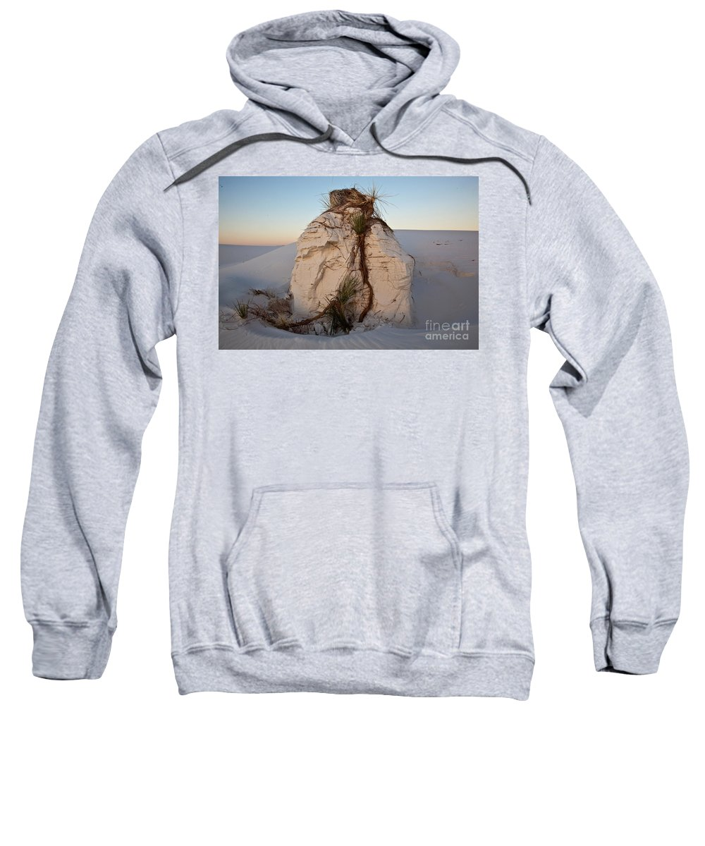 White Sands Sweatshirt featuring the photograph Sand Pedestal With Yucca by Greg Dimijian