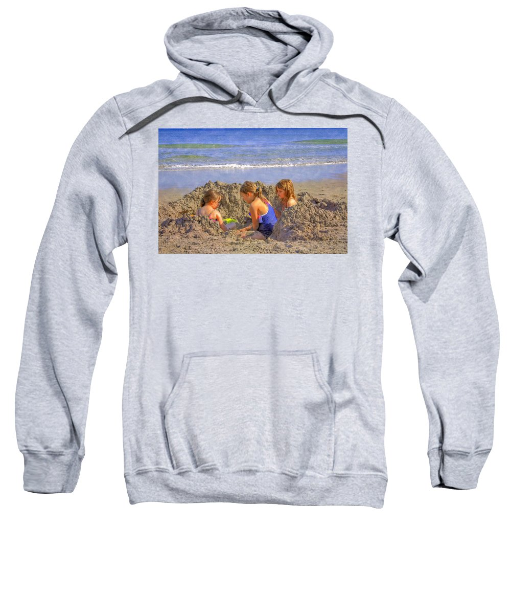 Clouds Sweatshirt featuring the photograph Sandy Fingers Sandy Toes by Debra and Dave Vanderlaan