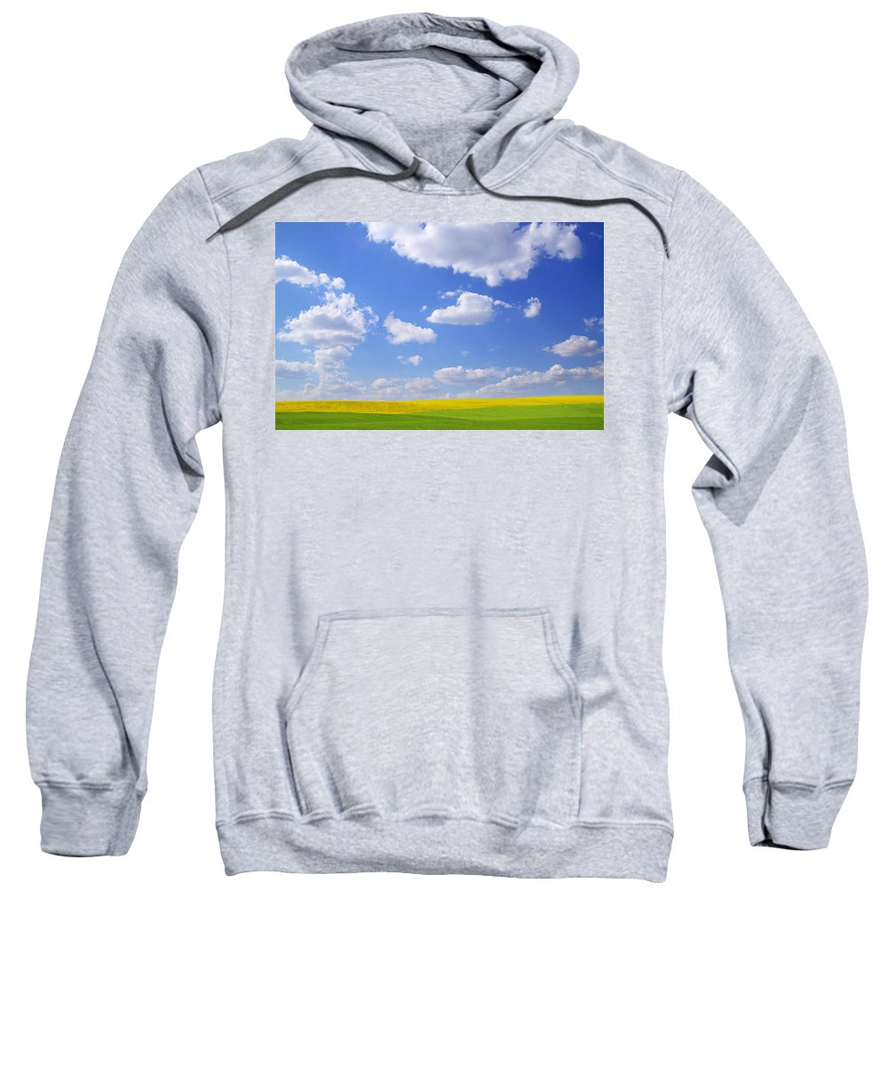Agriculture Sweatshirt featuring the photograph Scenic View Of Meadow And Canola Crop by Don Hammond