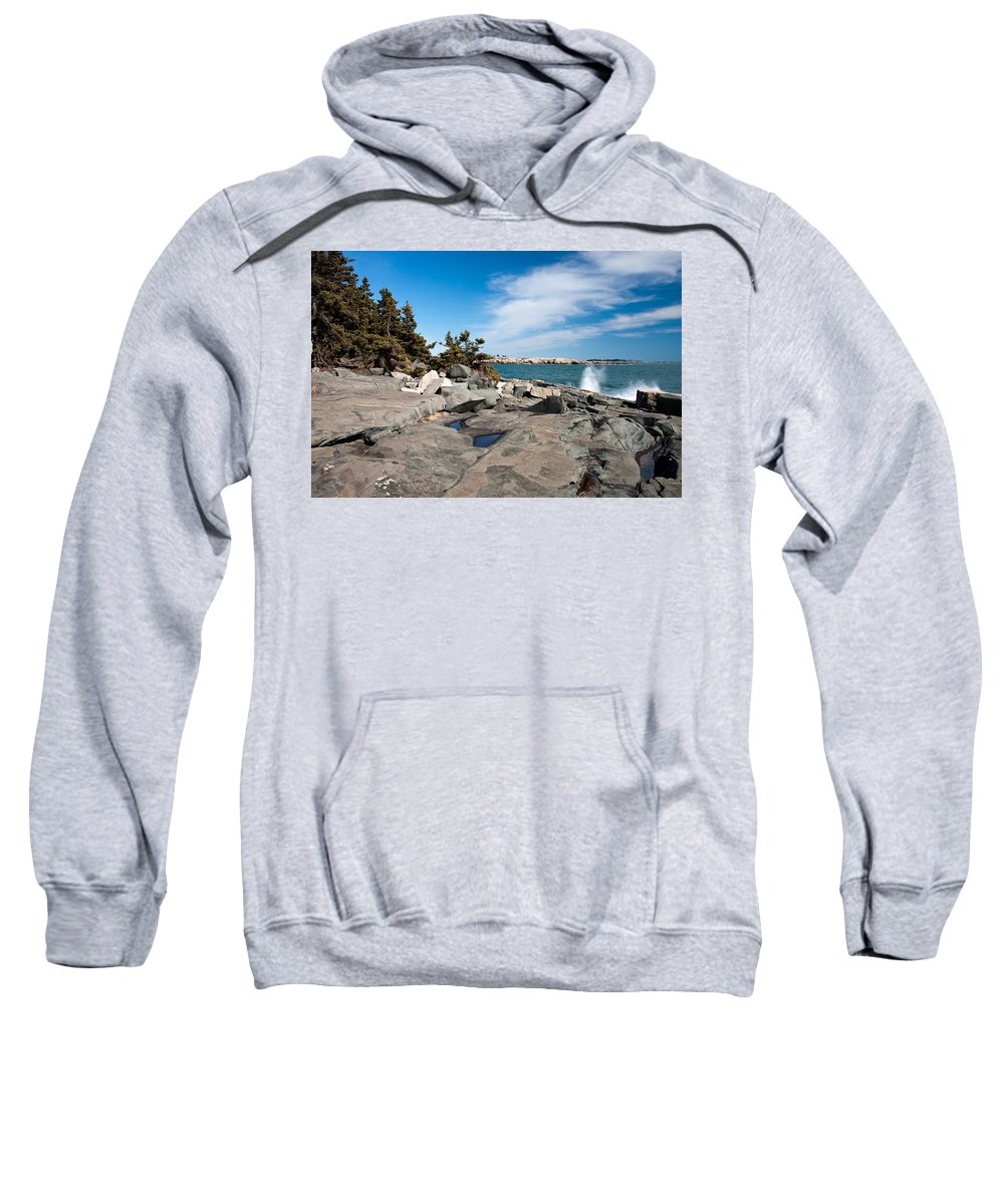 Photo Sweatshirt featuring the photograph Schoodic Waves 4645 by Brent L Ander
