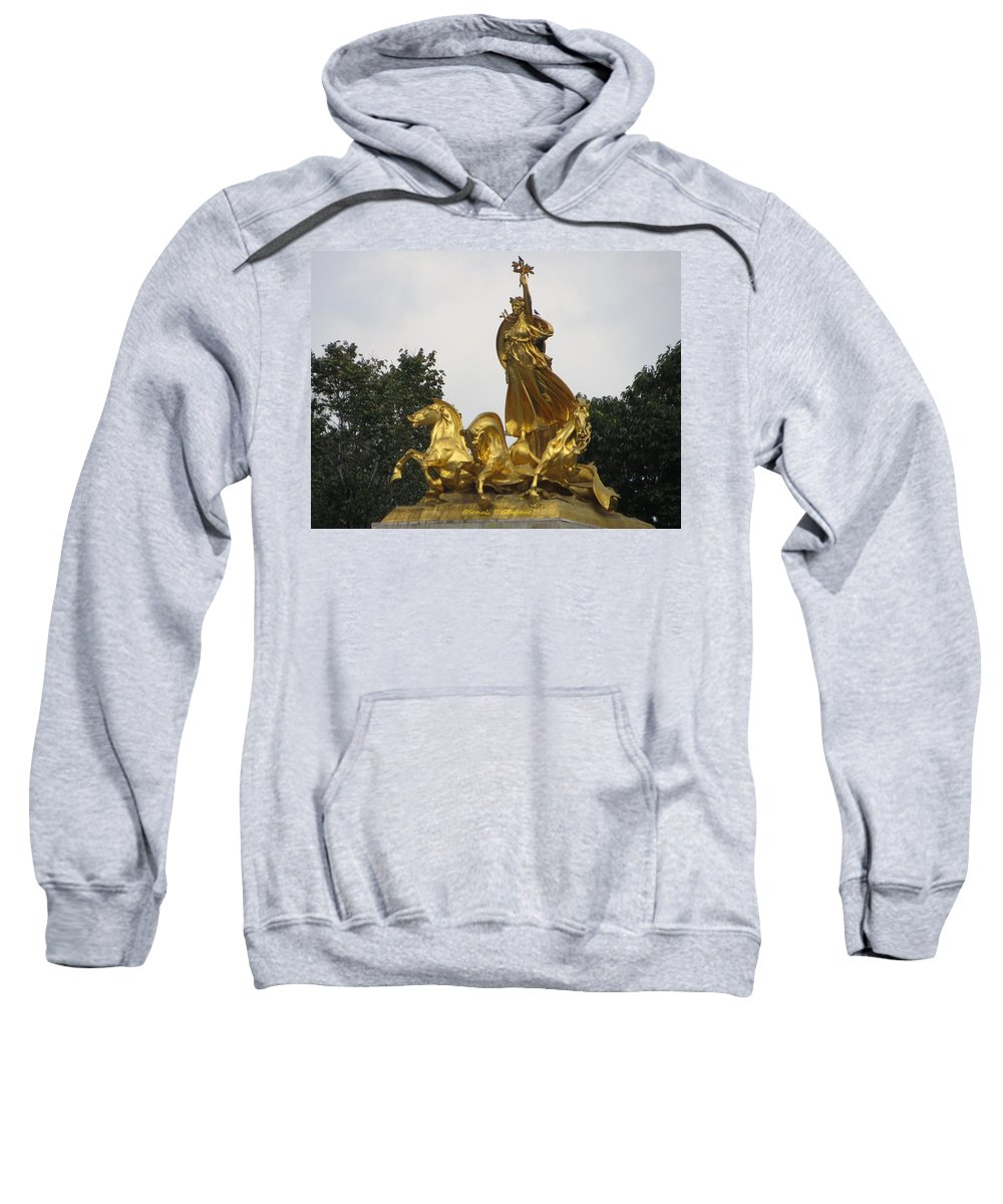 The Gilded Bronze Sculpture Sweatshirt featuring the photograph Sculpture Of Columbia Triumphant by Sonali Gangane