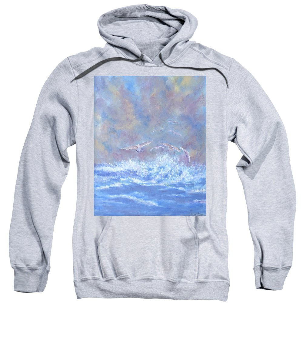 Seascape Sweatshirt featuring the painting Seagulls at Play by Ben Kiger