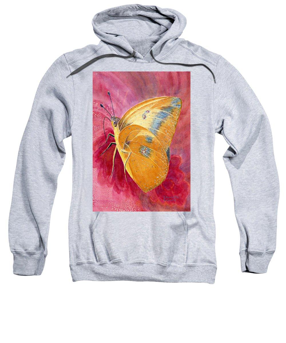 Butterfly Art Sweatshirt featuring the painting Self Esteem Butterfly by Charlotte Garrett