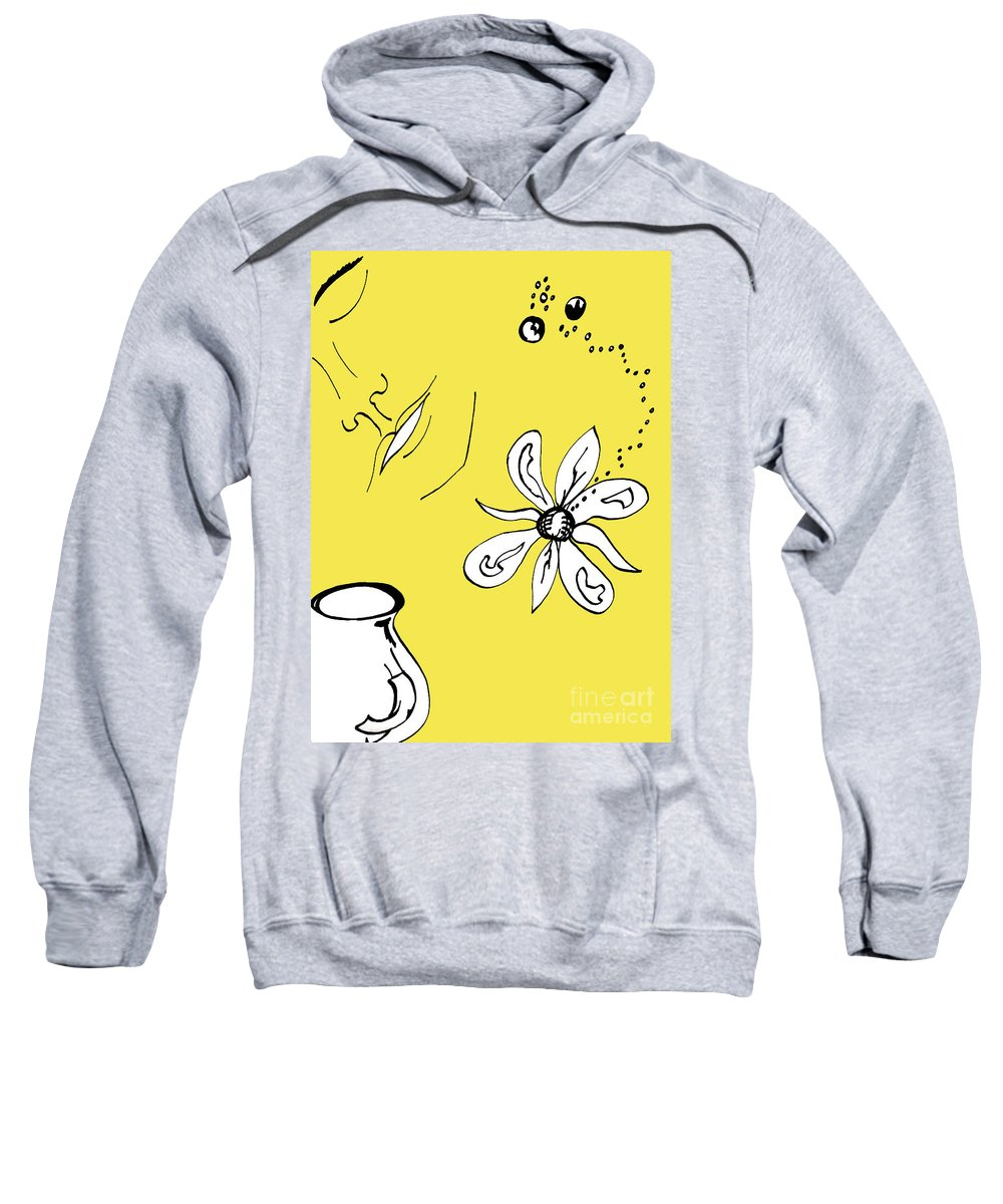 Contemplation Sweatshirt featuring the mixed media Serenity In Yellow by Mary Mikawoz