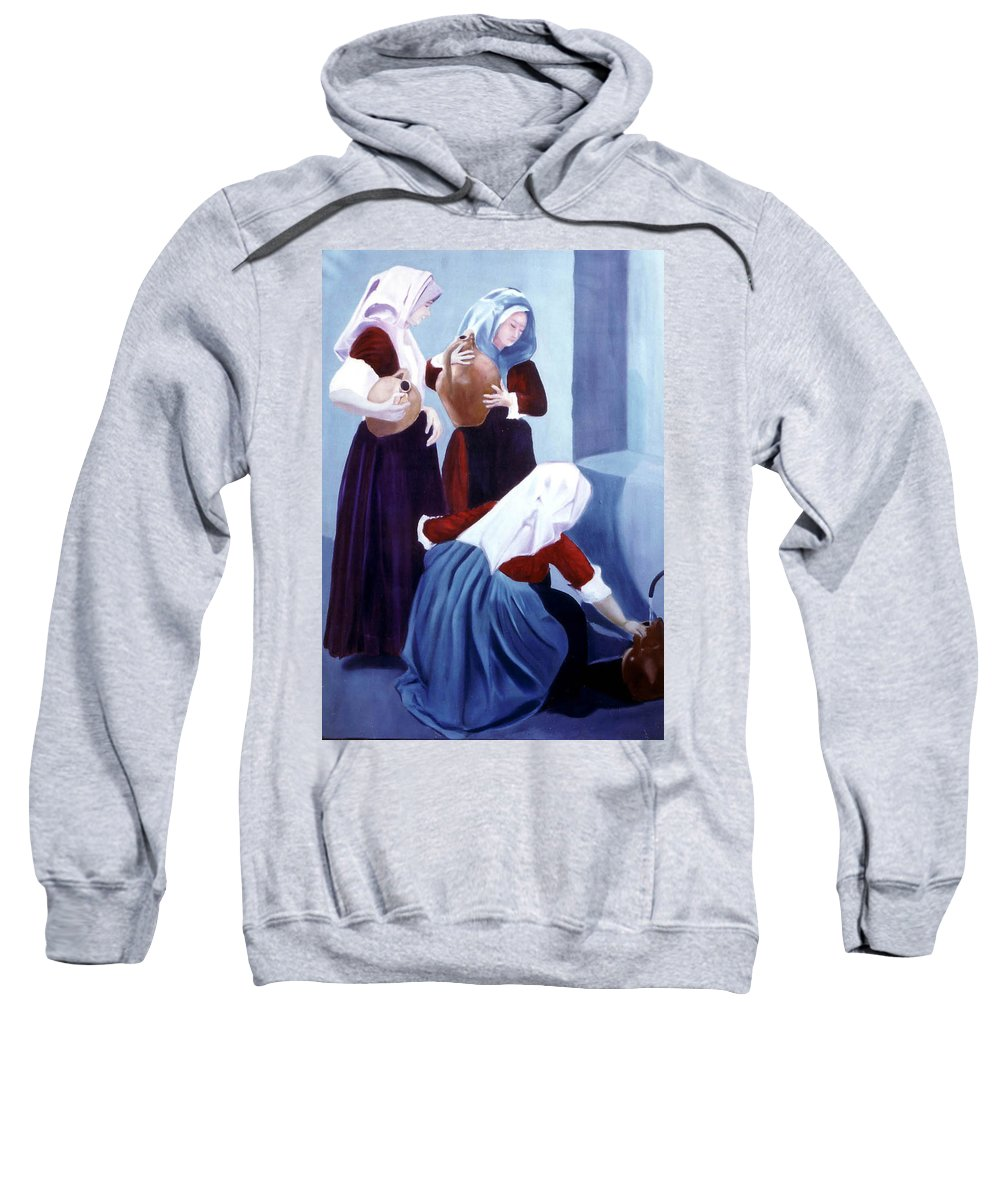 Oil Sweatshirt featuring the painting Sete by Giovanni Marco Sassu