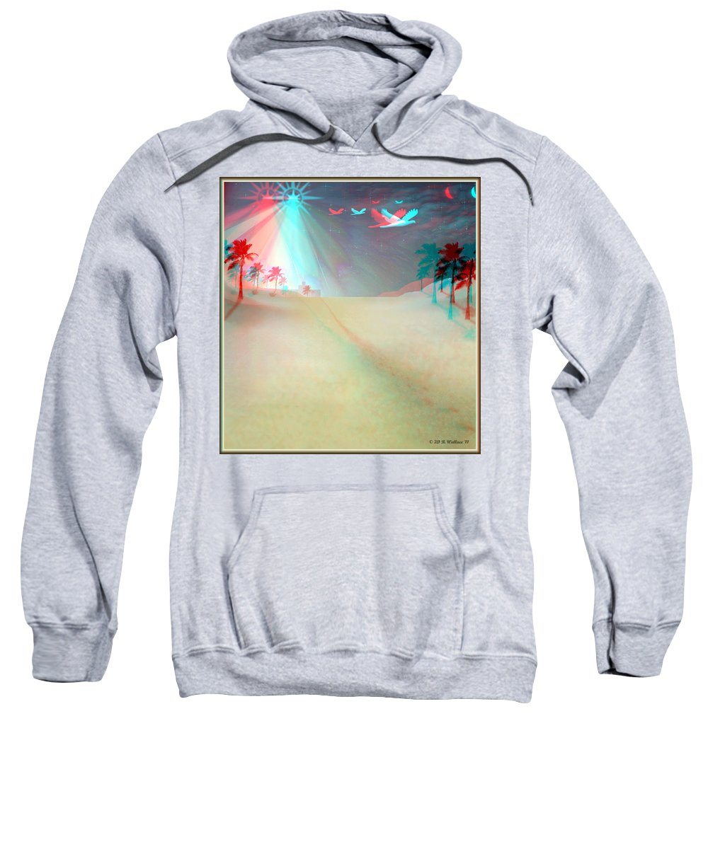 Brian Wallace Sweatshirt featuring the digital art Silent Night - Red And Cyan 3d Glasses Required by Brian Wallace