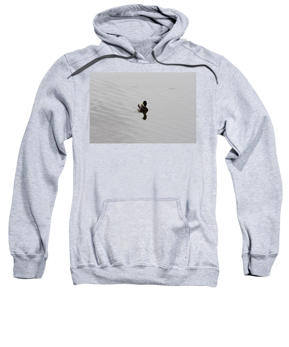 Duck On Lake Sweatshirt featuring the photograph Silent Waters by Douglas Barnard