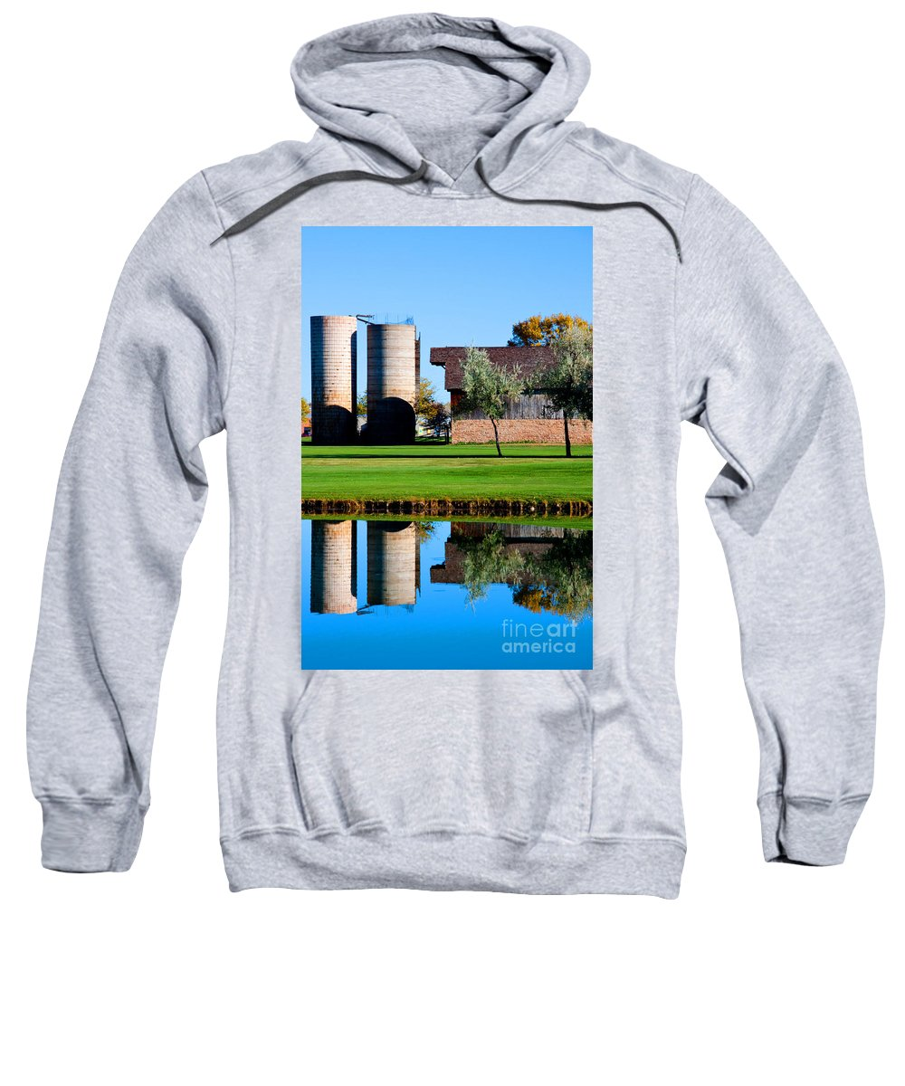 Silo Sweatshirt featuring the photograph Silos On The Green by Dana Kern