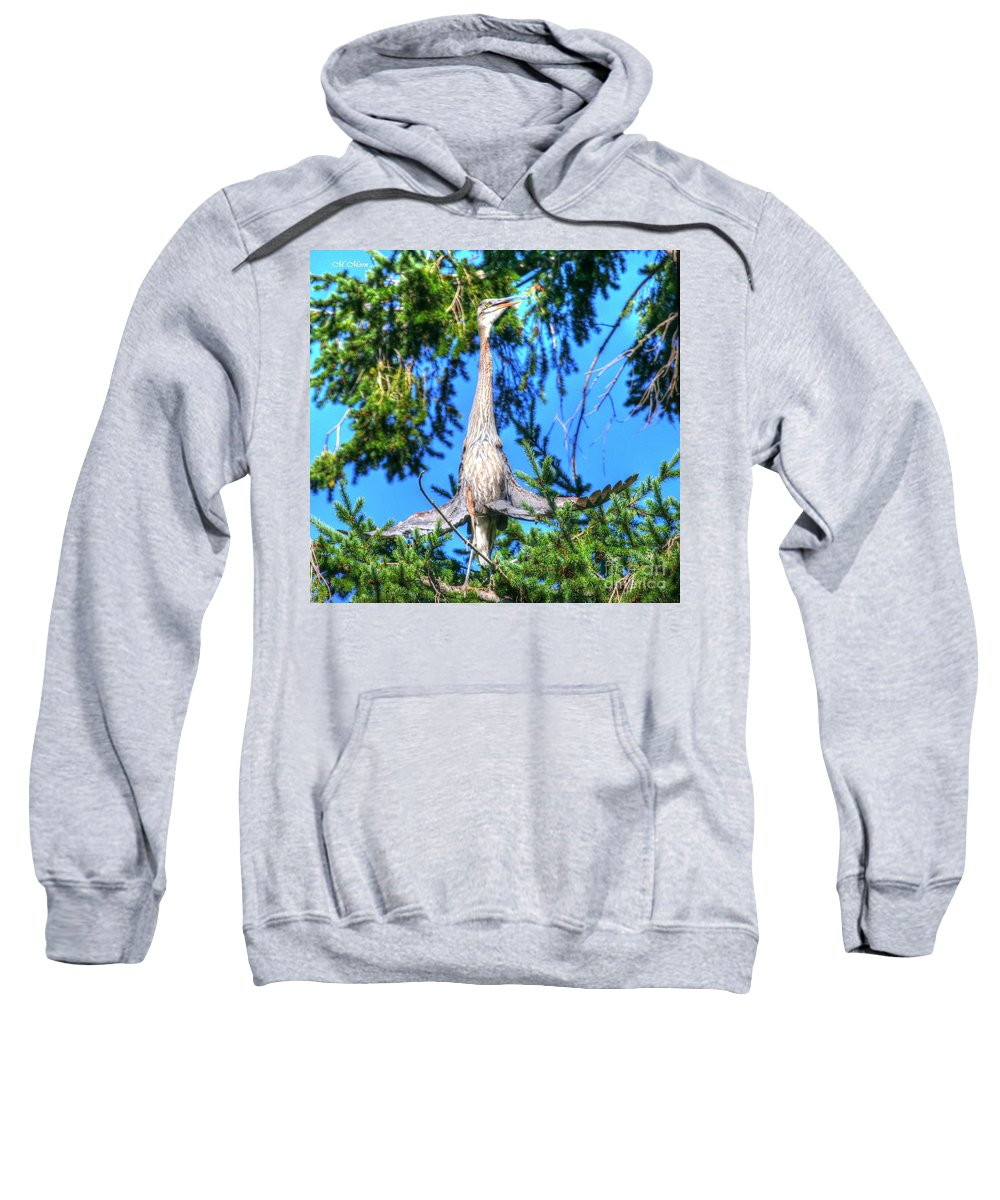 Blue Heron Bird Sweatshirt featuring the photograph Puget Sound Great Blue Heron Skirt Wings by Tap On Photo