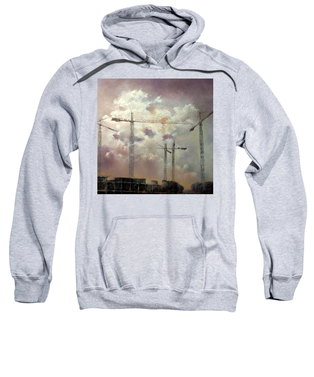 Sky Sweatshirt featuring the painting Sky With Clouds by Tomas Castano