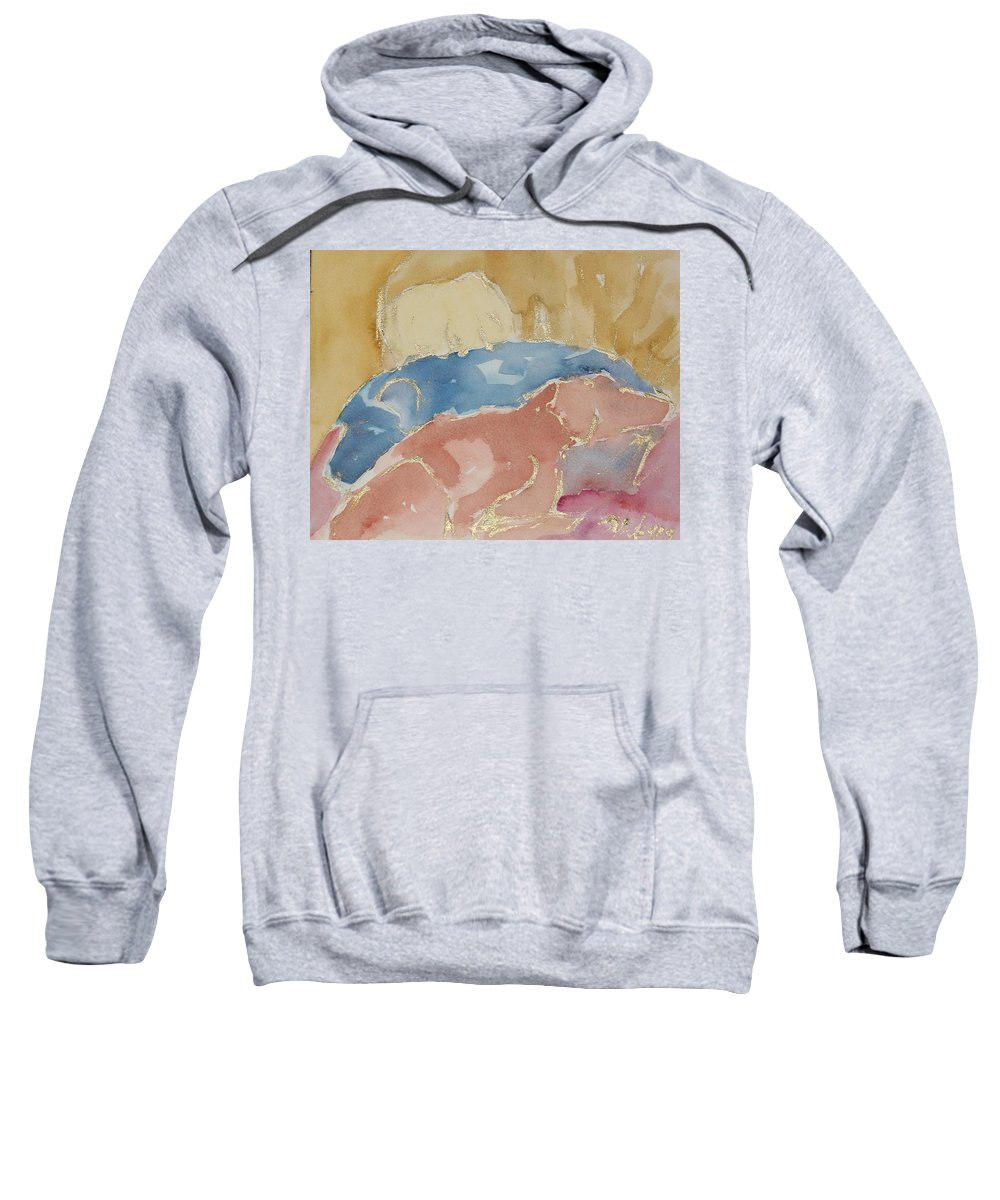 Dogs Sweatshirt featuring the painting Sleeping Labs Sketch by Sheila Wedegis