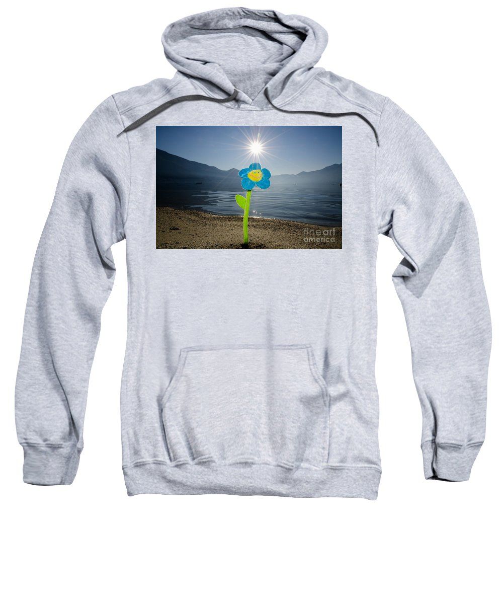 Smile Flower Sweatshirt featuring the photograph Smile Flower On The Beach by Mats Silvan