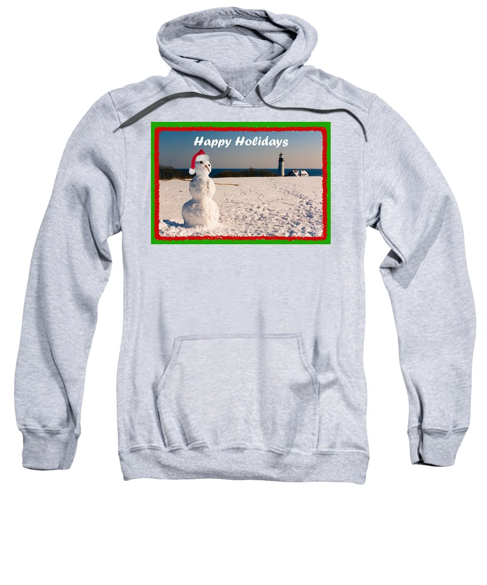 Portland Head Light Sweatshirt featuring the photograph Snowman With Santa Hat by Lloyd Alexander