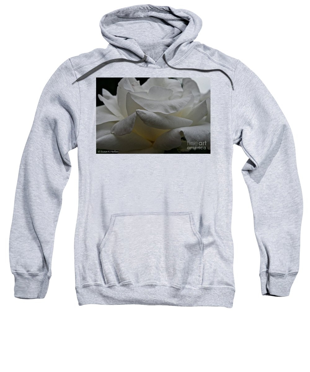 Floral Sweatshirt featuring the photograph Snowy Rose by Susan Herber