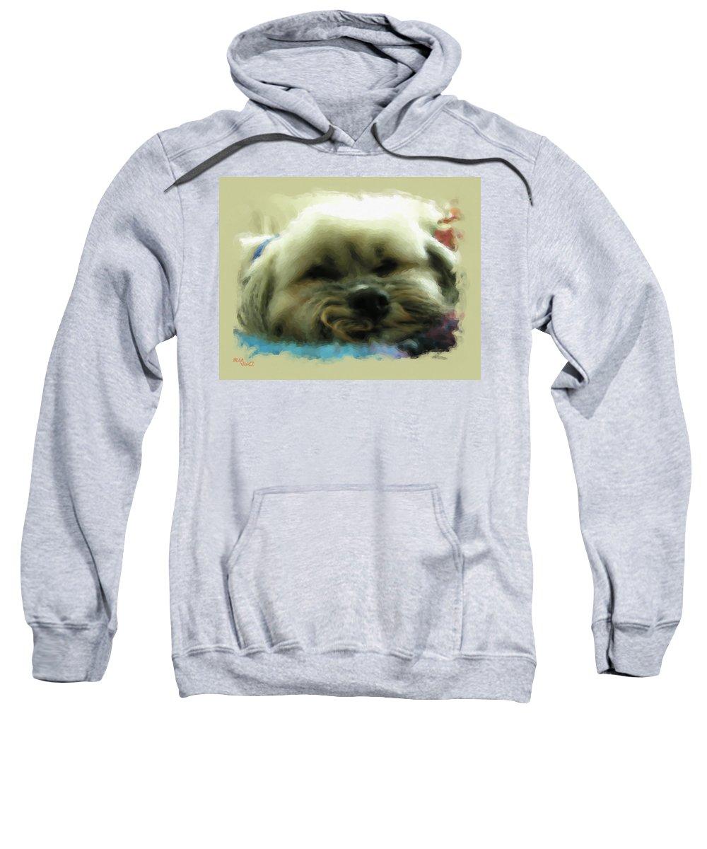 Sleepy Sweatshirt featuring the mixed media So Tired by Adam Vance