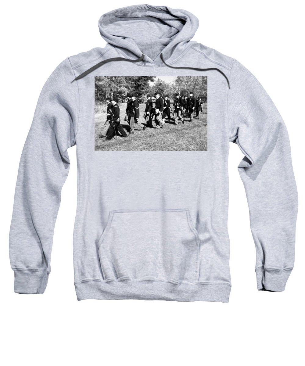 Usa Sweatshirt featuring the photograph Soldiers March by LeeAnn McLaneGoetz McLaneGoetzStudioLLCcom