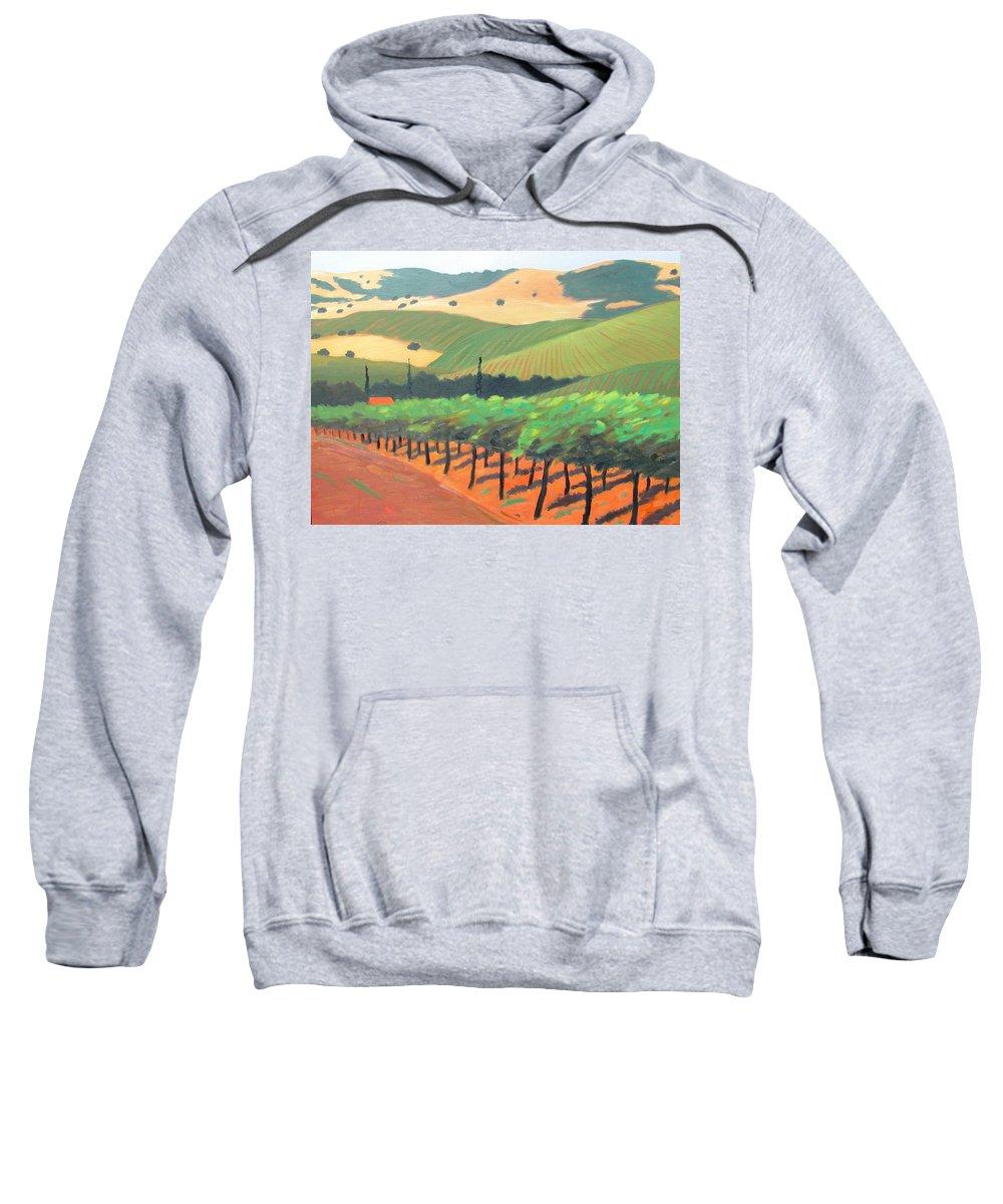 Vinyard Sweatshirt featuring the painting Sonoma Vinyard by Gary Coleman