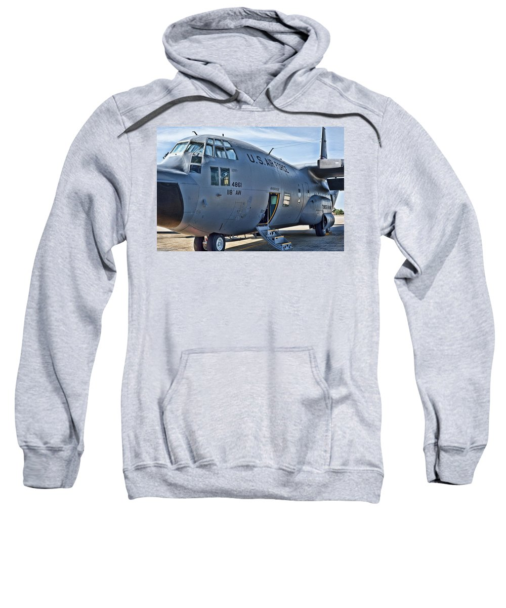 C-130 Sweatshirt featuring the photograph Soon To Be Grounded by Sheri Bartoszek