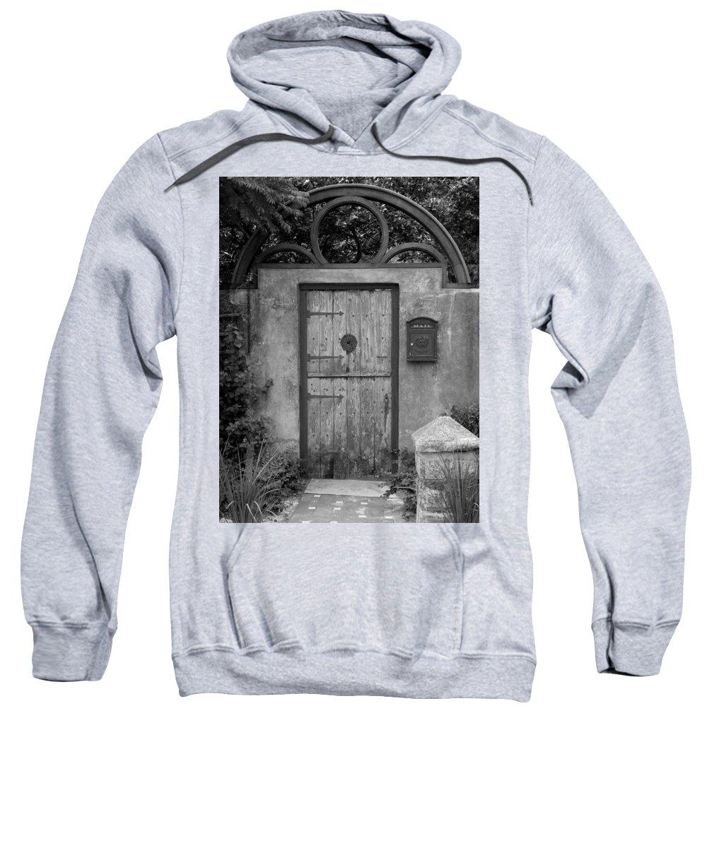 Door Sweatshirt featuring the photograph Spanish Renaissance Courtyard Door by Judy Wanamaker