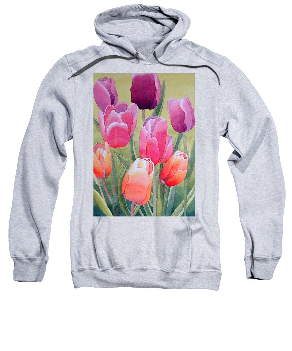 Tulips Sweatshirt featuring the painting Spring by Laurel Best