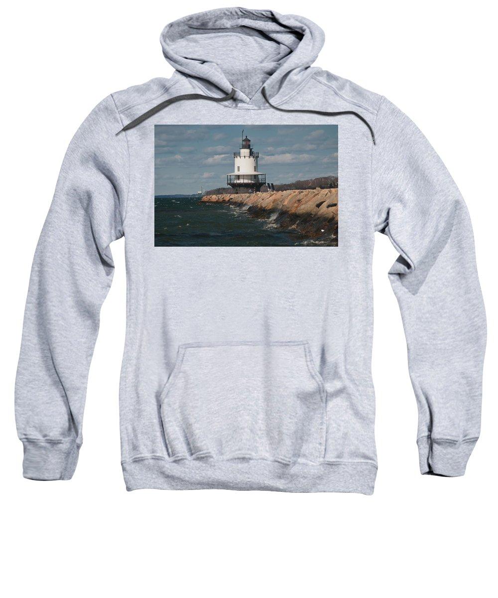springpoint Ledge Light House Sweatshirt featuring the photograph Springpoint Ledge Light House by Paul Mangold