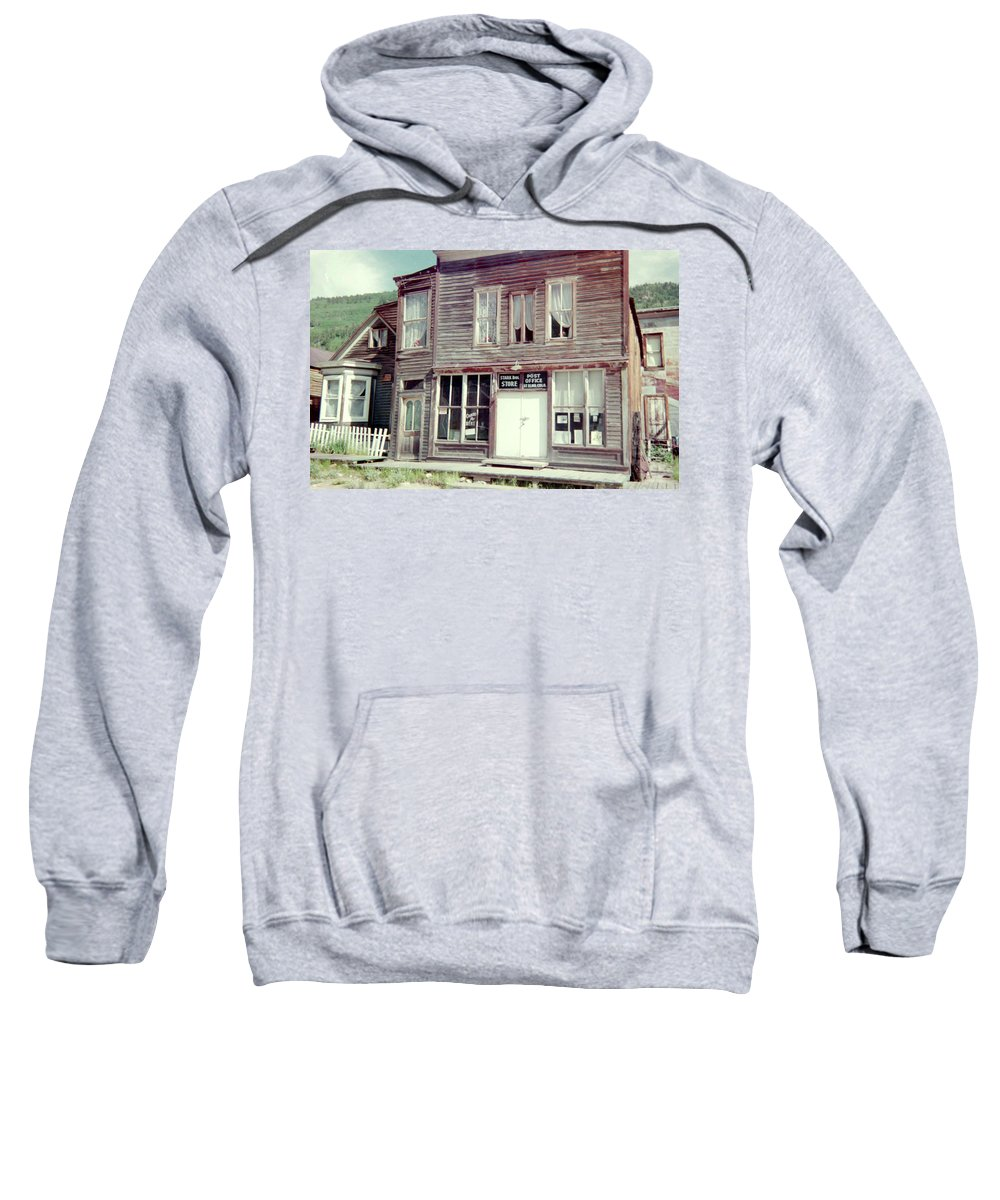Ghost Town Sweatshirt featuring the photograph Stark Bros Store by Bonfire Photography