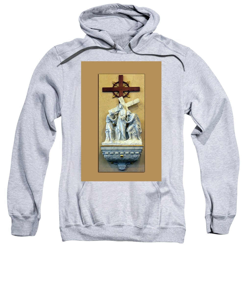 Statue Sweatshirt featuring the digital art Station Of The Cross 02 by Thomas Woolworth