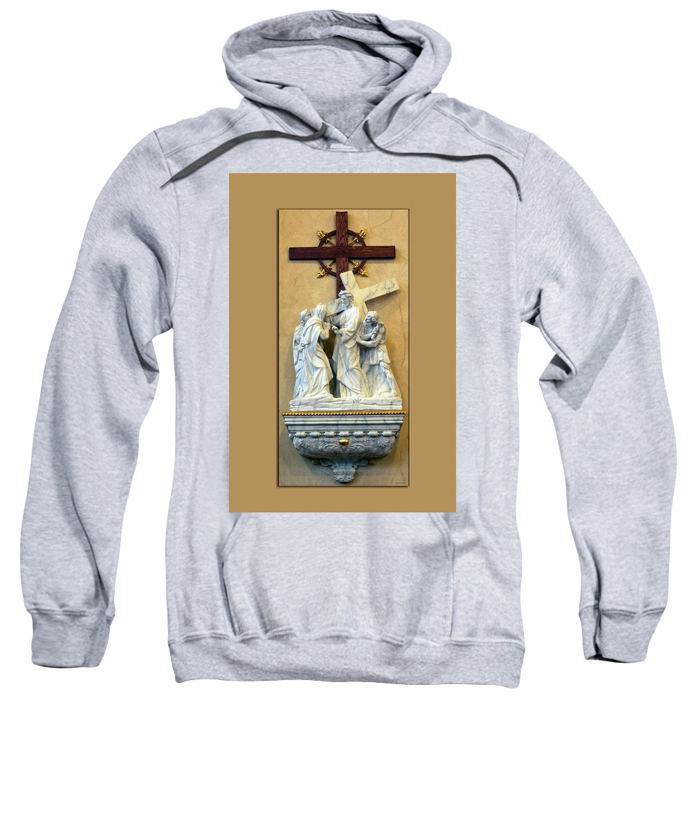 Statue Sweatshirt featuring the photograph Station Of The Cross 04 by Thomas Woolworth
