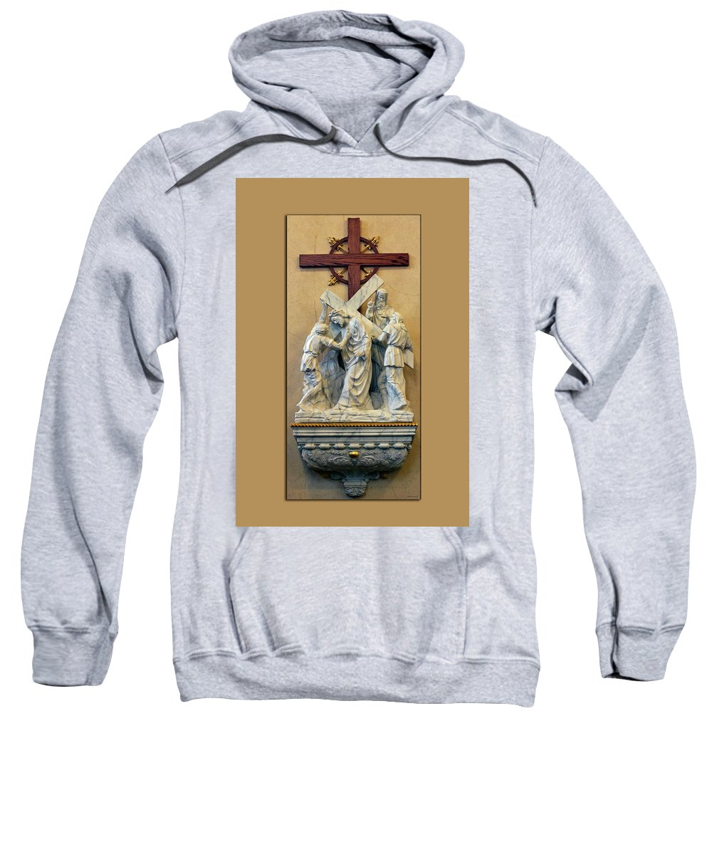 Statue Sweatshirt featuring the photograph Station Of The Cross 05 by Thomas Woolworth