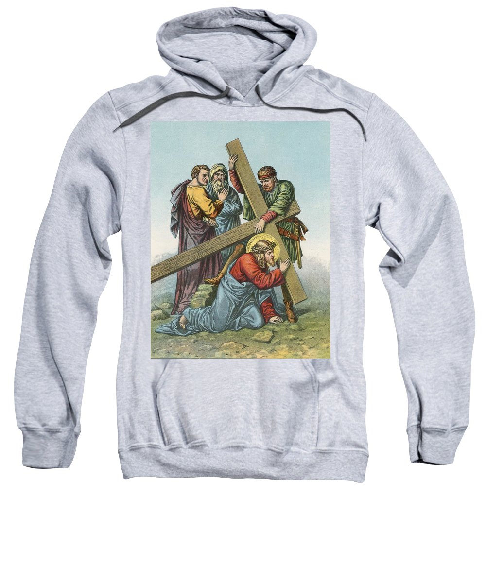 Catholic; Bible; Religion; Truth; Station Vii; Jesus Falls; Cross; Time Sweatshirt featuring the painting Station Vii Jesus Falls Under The Cross The Second Time by English School