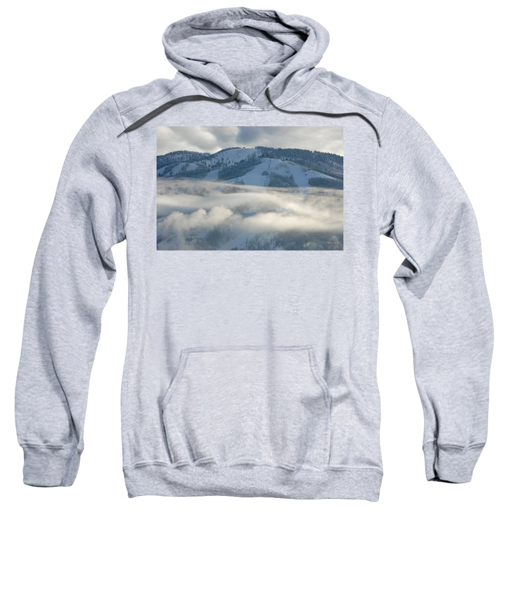Clouds Sweatshirt featuring the photograph Steamboat Ski Area In Clouds by Don Schwartz