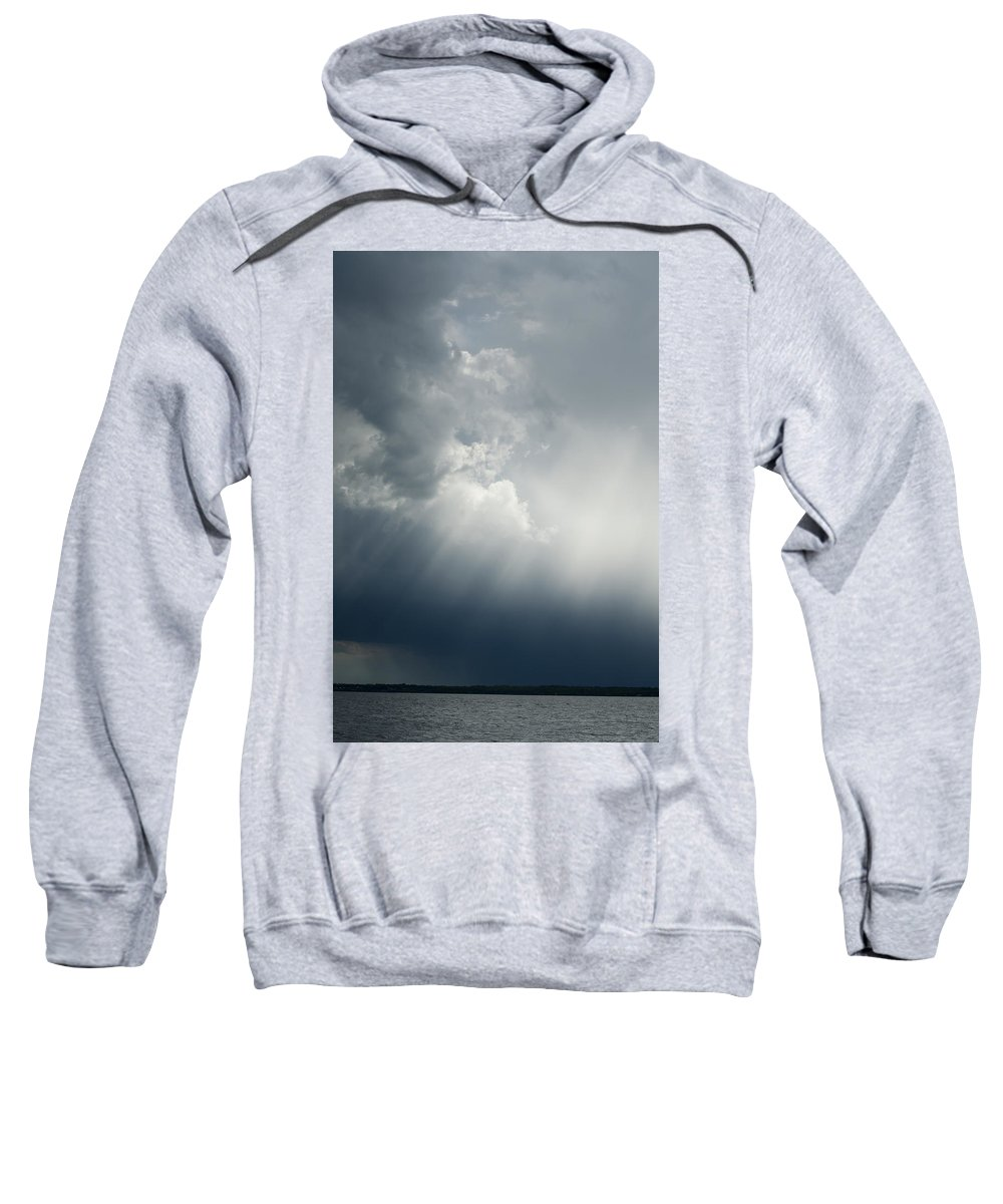 Photography Sweatshirt featuring the photograph Storm Over Jamestown by Steven Natanson